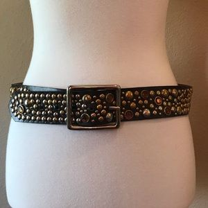ALDO STUDDED BROWN BLING BLING MEDIUM SIZE BELT